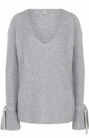 Кашемировый пуловер фактурной вязки с V-образным вырезом FTC. Цвет: серый
