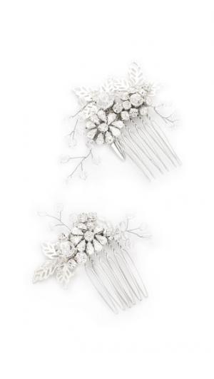 Набор гребней Lazuline с миниатюрными кристаллами Jenny Packham. Цвет: кристально-серебряный