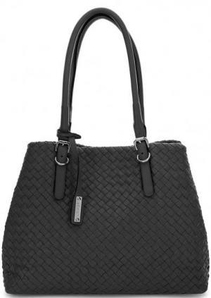Плетеная кожаная сумка с длинными ручками Abro. Цвет: черный