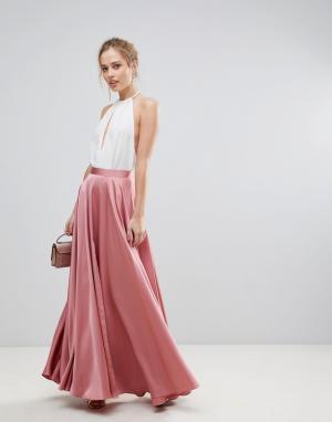 ASOS Атласная юбка макси с разрезом спереди по центру. Цвет: розовый
