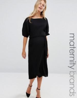 New Look Maternity Платье миди для беременных со складками и завязкой на талии M. Цвет: черный