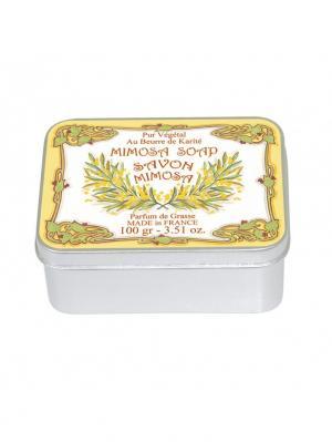 Мыло в жестяной коробке Le Blanc  МИМОЗА Blanc.. Цвет: желтый