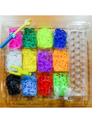 Набор резинок для плетения 1200 большой крючок станок Loom Bands. Цвет: прозрачный