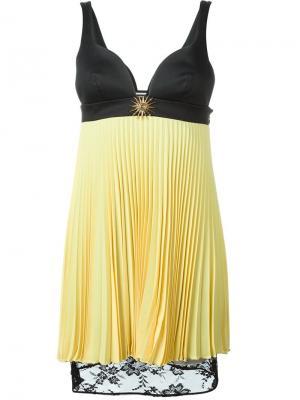 Плиссированное платье с кружевным подолом Fausto Puglisi. Цвет: жёлтый и оранжевый