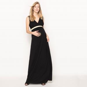 Платье для периода беременности длинное из джерси R essentiel. Цвет: черный
