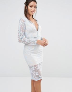 Love Triangle Кружевное платье миди с длинными рукавами. Цвет: синий