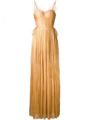 Кружевное платье плиссе Maria Lucia Hohan. Цвет: телесный