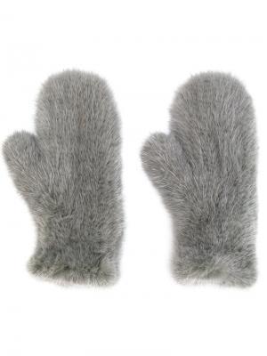 Перчатки Four Queues Yves Salomon. Цвет: серый