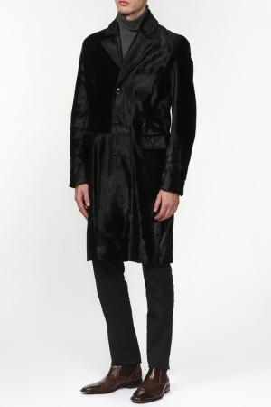 Пальто из пони Rindi. Цвет: черный