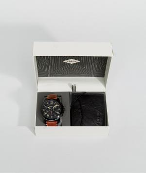 Fossil Светло-коричневый подарочный набор с кожаным бумажником и часами Fossi. Цвет: рыжий