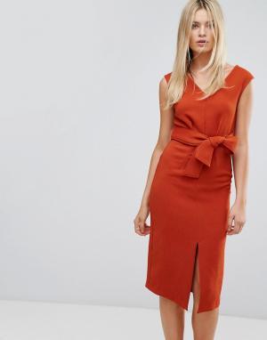 Closet London Платье миди с поясом. Цвет: оранжевый