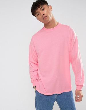 ASOS Розовый оверсайз-лонгслив с манжетами. Цвет: розовый