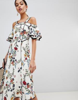 C/meo Collective Платье миди с цветочным принтом. Цвет: мульти