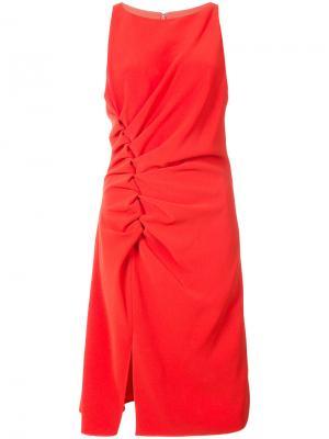 Платье с присборенной отделкой Halston Heritage. Цвет: красный