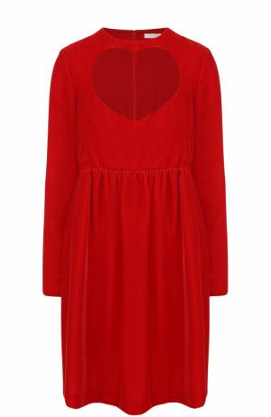 Мини-платье с завышенной талией и длинным рукавом Chloé. Цвет: красный
