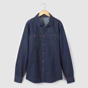 Рубашка из денима 10-16 лет La Redoute Collections. Цвет: синий потертый,темно-синий
