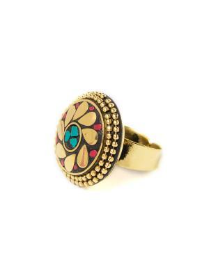 Кольцо Бронзовый цветок MZ0289 Indira. Цвет: золотистый