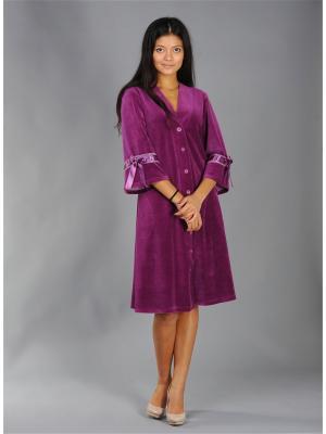 Велюровый халат Тефия. Цвет: бордовый