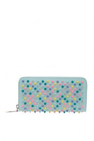 Кожаный кошелек W Panettone Christian Louboutin. Цвет: голубой, разноцветный