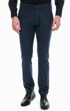 Зауженные синие брюки Strellson. Цвет: синий
