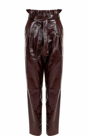 Кожаные брюки с завышенной талией и поясом DROMe. Цвет: бордовый