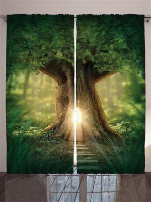 Плотные фотошторы Дом в старом дереве, 290*265 см Magic Lady. Цвет: салатовый, бежевый, желтый, зеленый, коричневый