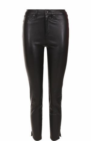 Укороченные кожаные брюки-скинни Rag&Bone. Цвет: черный