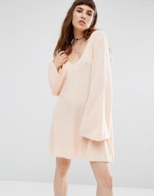 Rokoko Свободное вязаное платье. Цвет: розовый