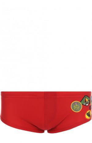 Плавки с принтом Dsquared2. Цвет: красный