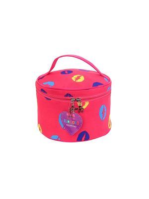 Косметичка Розовая с губками EL CASA. Цвет: розовый, желтый, синий, голубой