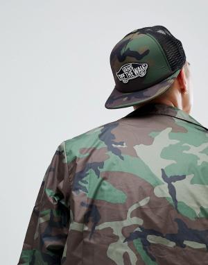 Vans Камуфляжная кепка с нашивкой Classic. Цвет: зеленый