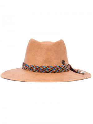Шляпа с плетеной деталью Maison Michel. Цвет: коричневый