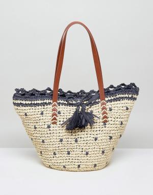 Vincent Pradier Соломенная пляжная сумка-тоут (натуральный/темно-синий) Pradie. Цвет: темно-синий
