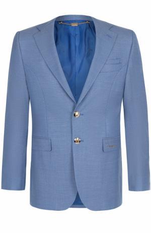 Шерстяной однобортный пиджак Billionaire. Цвет: голубой