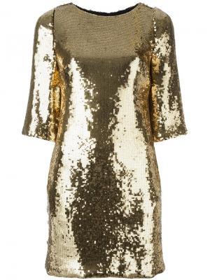 Платье с пайетками Marco Bologna. Цвет: металлический