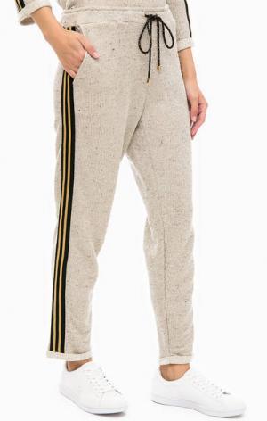 Укороченные брюки с нашивками по бокам Kocca. Цвет: бежевый