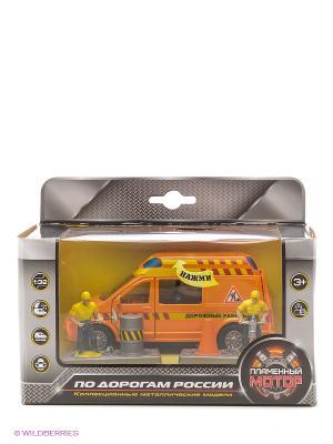 Машина мет. ин. 1:32 Дорожные работы, откр.двери, свет, звук Пламенный мотор. Цвет: оранжевый