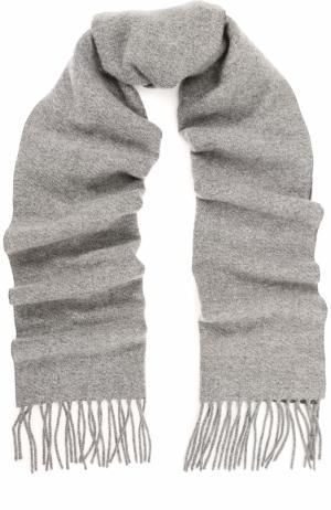 Кашемировый шарф с бахромой Cortigiani. Цвет: светло-серый