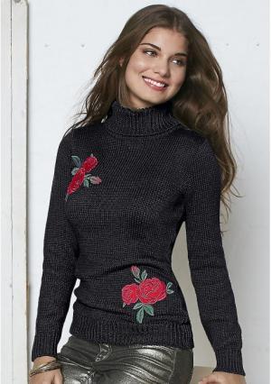 Пуловер Y.O.U.. Цвет: черный с рисунком