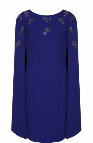 Приталенное платье-миди с кейпом St. John. Цвет: синий