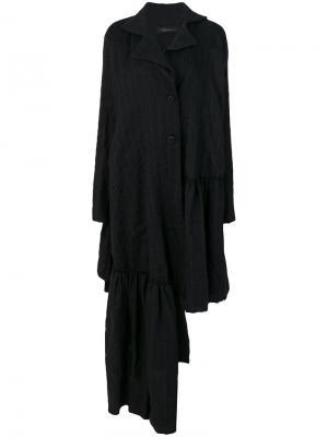 Асимметричное пальто с оборкой Barbara Bologna. Цвет: чёрный