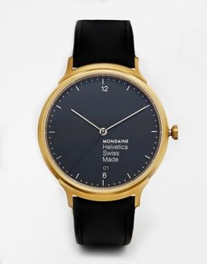Mondaine Часы с кожаным ремешком Helvetica. Цвет: черный