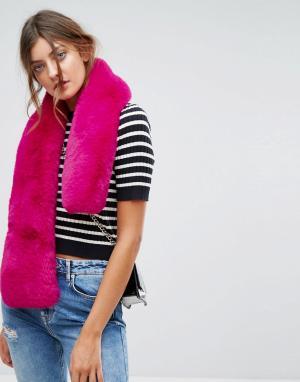 New Look Розовая меховая накидка. Цвет: розовый