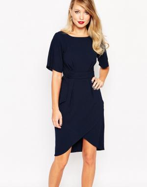 Closet London Платье с рукавами‑кимоно и поясом - Темно-синий 4136099