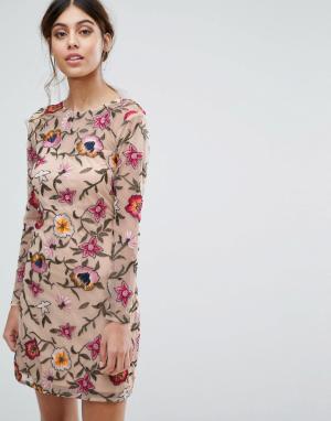 Frock and Frill Платье мини для выпускного с цветочной вышивкой. Цвет: розовый