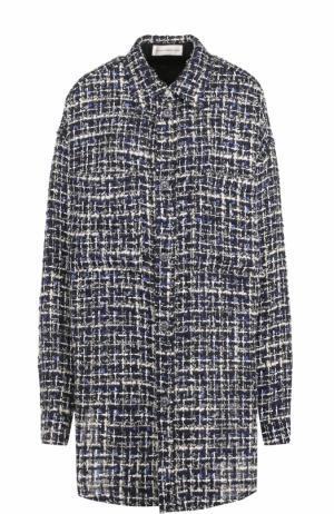 Буклированная блуза свободного кроя Faith Connexion. Цвет: темно-синий