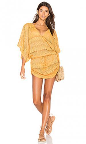 Платье с вырезом v obsession Luli Fama. Цвет: оранжевый