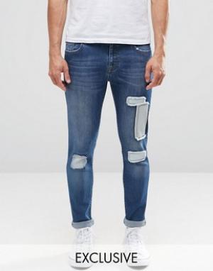 Brooklyn Supply Co. Джинсы с заплатками на коленях Co Dumbo. Цвет: синий