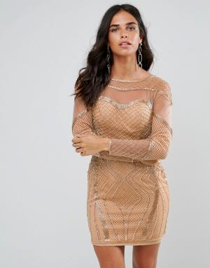Forever Unique Облегающее платье с длинными рукавами и отделкой. Цвет: золотой
