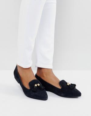 Park Lane Замшевые туфли на плоской подошве с кисточками. Цвет: черный